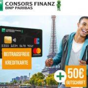 Gebührenfreie Consors Finanz Mastercard + 75€ Bonus