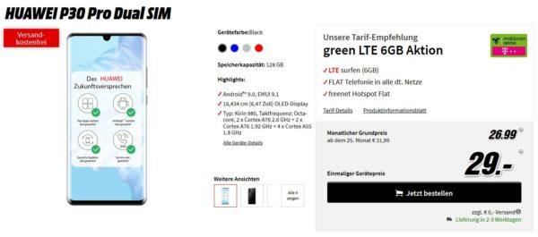 Mobilcom-Debitel Telekom Green LTE (6GB, Flat-Telefonie) inkl. Huawei P30 Pro für 26,99€/Monat