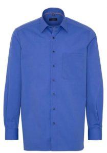 Eterna Langarm Hemd Comfort Fit Fil à Fil blau unifarben