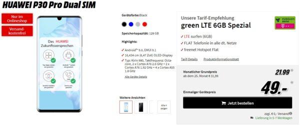 huawei pro30 pro mobilcom debitel green lte 6gb spezial