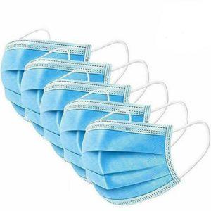 100x-Schutzmaske-Mundschutz-Maske-Gesichtsmaske-Filtermaske-Einweg-Atemschutz-3-Lagig-Vliesstoff