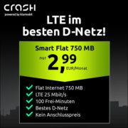 *LETZTE CHANCE* *TOP* Crash: klarmobil Smart Flat-Tarif (Telekom-Netz, 750 MB LTE, 100 Minuten) für 2,99€/Monat - inkl. eSIM, VoLTE & mehr