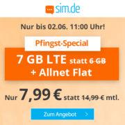 *ENDET UM 11 UHR* *SUPER* Sim.de: 7GB LTE Allnet-Flat (O2) für 7,99€/Monat - auch monatlich kündbar!