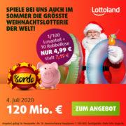 *TOP* *120 Mio. €* Lottoland - El Gordo SommerLotterie - z.B. 1/100-Anteil + 10 Piggiebank Rubbellose für 4,99€ (statt 7,50€)