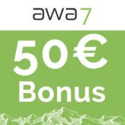 50€ Bonus für die kostenlose awa7® Kreditkarte + 50 Bäume zur Eröffnung + 1 Baum pro 100€ Umsatz
