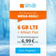 SIM.de: 6GB LTE Allnet-Flat für 6,99€/Monat (auch ohne Vertragslaufzeit!)