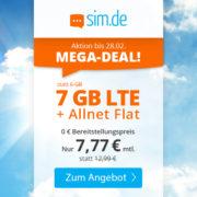 SIM.de: 7GB LTE Allnet-Flat für 7,77€/Monat (auch ohne Vertragslaufzeit!)