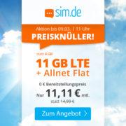 SIM.de: 11GB LTE Allnet-Flat für 11,11€/Monat (auch ohne Vertragslaufzeit!)