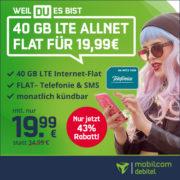 *ENDET* Monatlich kündbare 40 GB LTE Allnet Flat für 19,99€/Monat