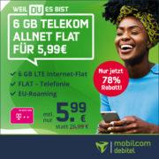 *TELEKOM-KNALLER* 6 GB Telekom LTE Allnet-Flat für 5,99€/Monat