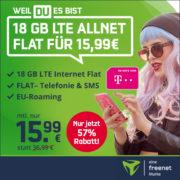 *BIS 20 UHR* 18 GB LTE Allnet-Flat im Telekom-Netz für 15,99€/Monat