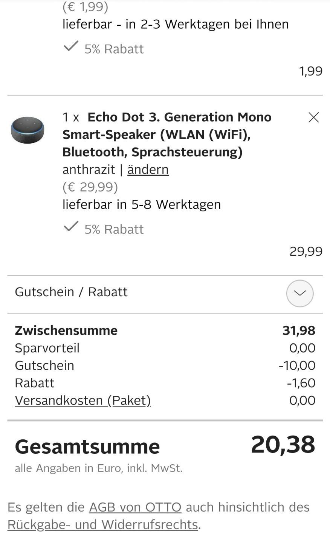Knaller Otto Amazon Echo Dot 3 Generation Ab 1424 Statt 59