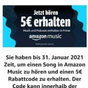 5€ Amazon-Gutschein für 30 Sekunden Song bei Amazon Music streamen (Prime Kunden)