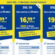 1&1 DSL ab 14,99 € im Monat (DSL-Flat mit bis zu 100 Mbit/s, Telefon-Flat) – jetzt mit bis zu 360 € Wechslerbonus!