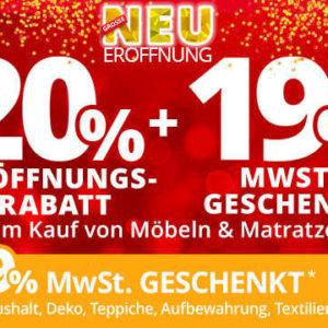 20% Rabatt und 19% Mwst. geschenkt bei Möbel-Höffner ...