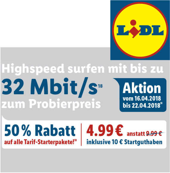 50 rabatt auf alle tarif starterpakete bei lidl connect. Black Bedroom Furniture Sets. Home Design Ideas