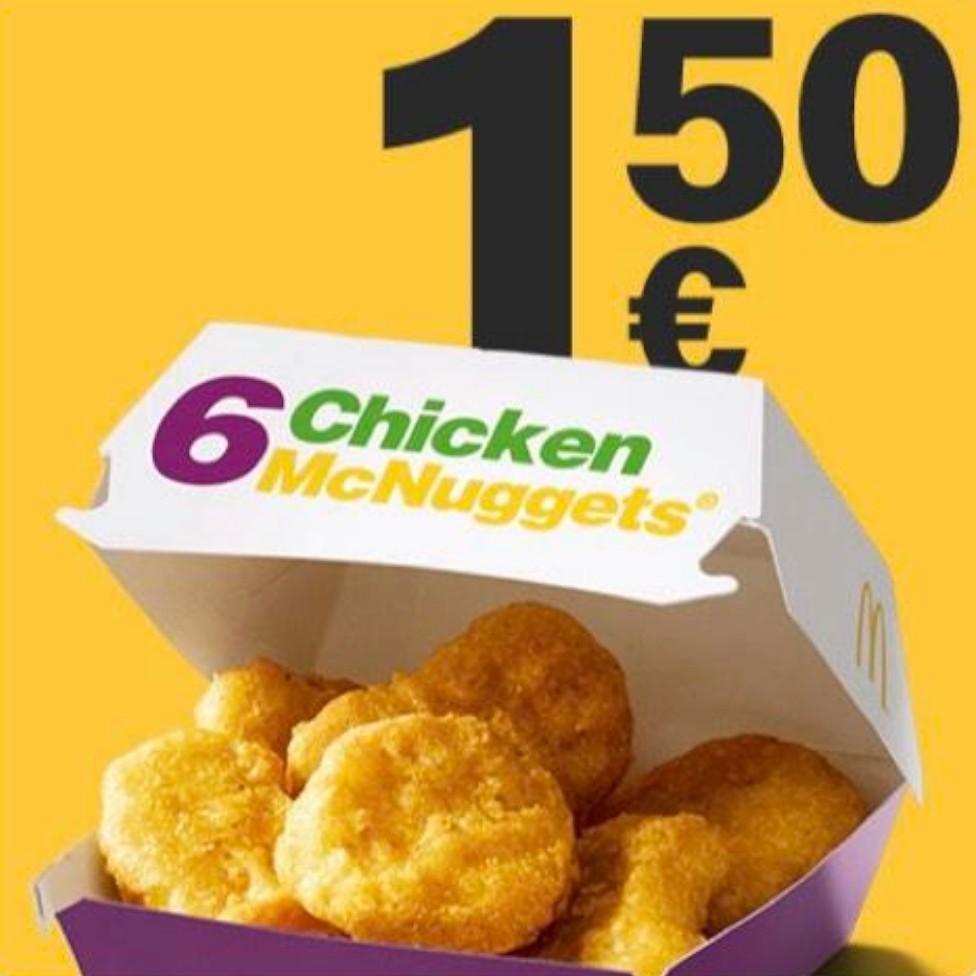 6 Chicken McNuggets für 1,50€ (statt 3,79€) bei McDonalds