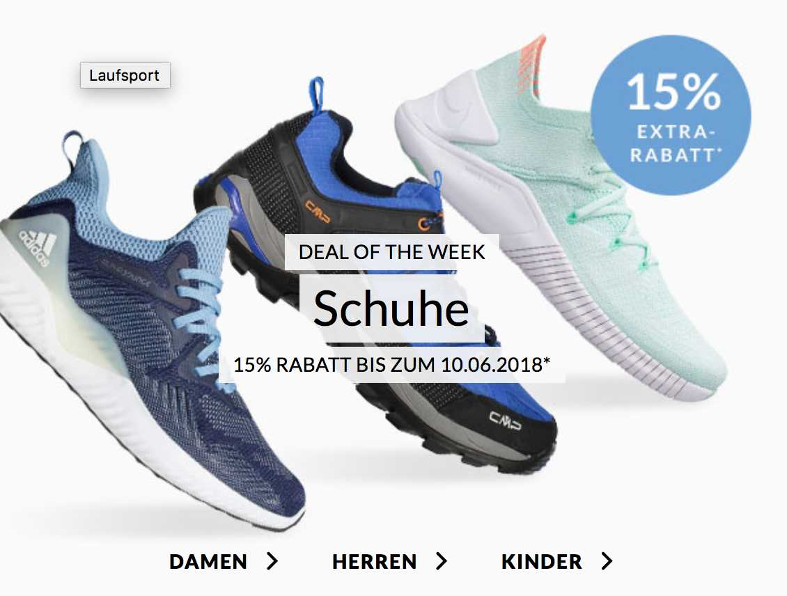 15% Rabatt auf Laufsportartikel bei Engelhorn, z.B. Nike
