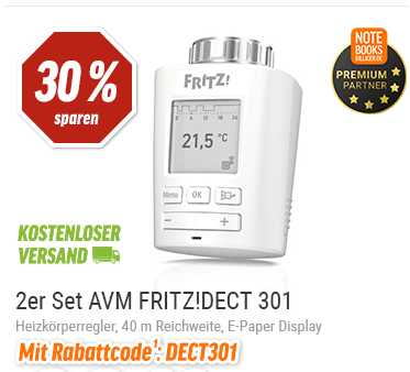 avm fritz dect 301 smarter heizk rperregler 2er set nur 69 00 statt 93 98. Black Bedroom Furniture Sets. Home Design Ideas