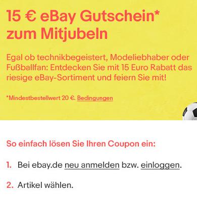 ebay 15 gutschein f r alles bei zahlung mit paypal mbw 20. Black Bedroom Furniture Sets. Home Design Ideas