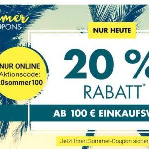 Karstadt nur heute ab 100 Euro 20% Rabatt |
