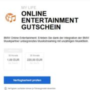 BMW Online Entertainment Gutschein (36 Monate) für 1€