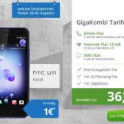HTC U11 für nur 1€ ! + Vodafone Red M GigaKombi für effektiv 9,15 € im Monat (Allnet-Flat, SMS-Flat, 14 GB LTE)