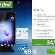 Preissenkung ! HTC U11 für nur 69 € + o2 Free 15 für effektiv 9,99 € im Monat (Allnet-Flat, SMS-Flat, 15 GB LTE, Festnetznummer)