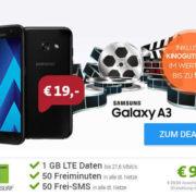 Samsung Galaxy A3 (2017) + (50 min, 50 SMS, 1 GB LTE, o2-Netz) für effektiv 2,16€/Monat + 50 € Kino-Gutschein
