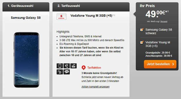 samsung galaxy s8   64gb speicherkarte   ladestation f u00fcr 49 u20ac   vodafone young m  allnet