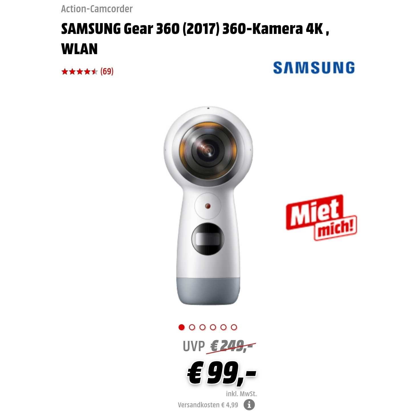 Samsung Gear 360 2017 360 Kamera 4k Für 99 499 Vsk Oder